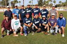 The Young Realtors Champs: Kneeling (left to right) Bill Cheney, Dave Lingen, Randy Neumann, Mgr. Mike Gloyd, Wes Reynolds, Mike Willits and Chuck Schaan; standing (left to right) Dick Bleich, Mike Otman, Gary Hatch, Steve Hilby, Tom Kasunic, Bill Corso and Dirk Close (photo by Core Photography)