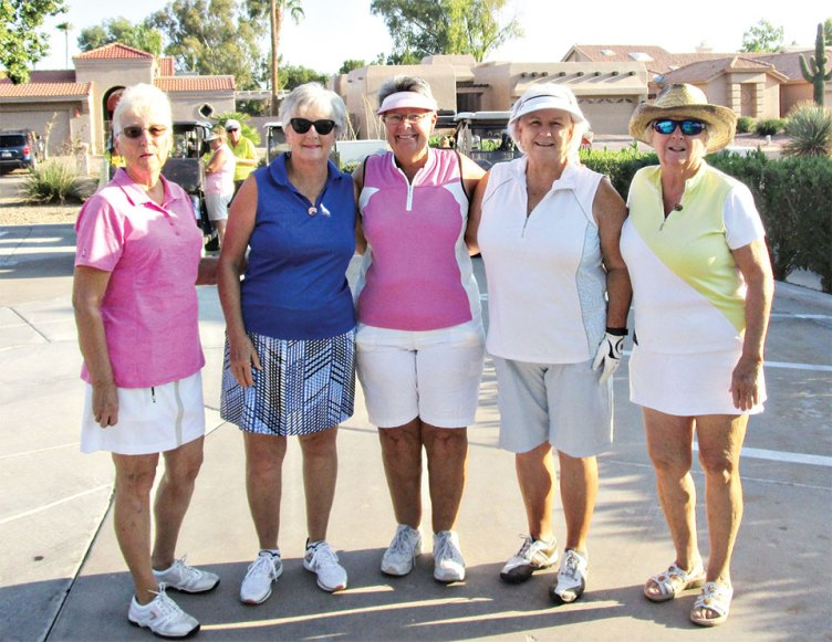 From left to right: Jan Stuckey, Sandy Chavez, Jan Nelson, Billie Seiberling and Kathy Jones