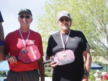 David Zapatka, Sun Lakes, Arizona, and Dennis Hackney, Florence, Arizona, won a bronze medal in the Prescott, Arizona, 5.0 Men's Division in Pickleball.