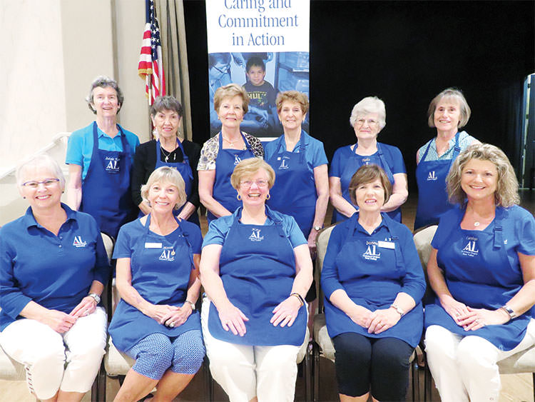 Sun Lakes residents active in Assistance League of East Valley include front row (left to right): Sue Niesz, Katie Seavers, Kay Glantz, Donna Hines, Carolyn McCorkle; back row (left to right): Virginia Metz, Barb Dubler, Sarah Auffret, Mary Louise Lansbarkis, Phyllis Hesselrode, Linda Metz.