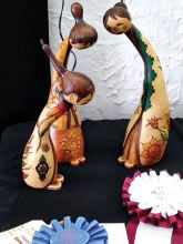 Mary Parks' gourd art won the Best of the Intermediate Division.