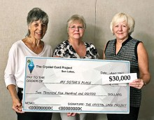 Gloria Tonkinson, Polly Smith, and Joanne Rumpler update the check to My Sister's Place to reflect the $30,000 donated through September, 2019.