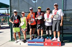 Jamie Noblit, Cottonwood, and Jeff Peck won the Gold Medal in the Mixed Doubles 65-69, 4.0 age division, at the SSIPA West Championship.