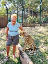 Terry Clark in Thailand with the cheetahs