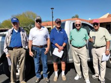 Pictured (left to right) are Sun Lakes Aero Club members who toured the Sky Harbor Airport tower and TRACON March 3: Jim Theobald, John Wood, John Ovrebo, Joe Tighe, and Richard Onken; photo by Gary Vacin