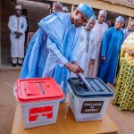 Let Abubakar go to court, Buhari charges as he votes in Daura