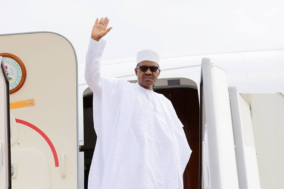Image result for Buhari departs for Dakar for Sall's inauguration