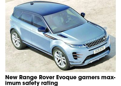 New Range Rover Evoque earns maximum safety rating
