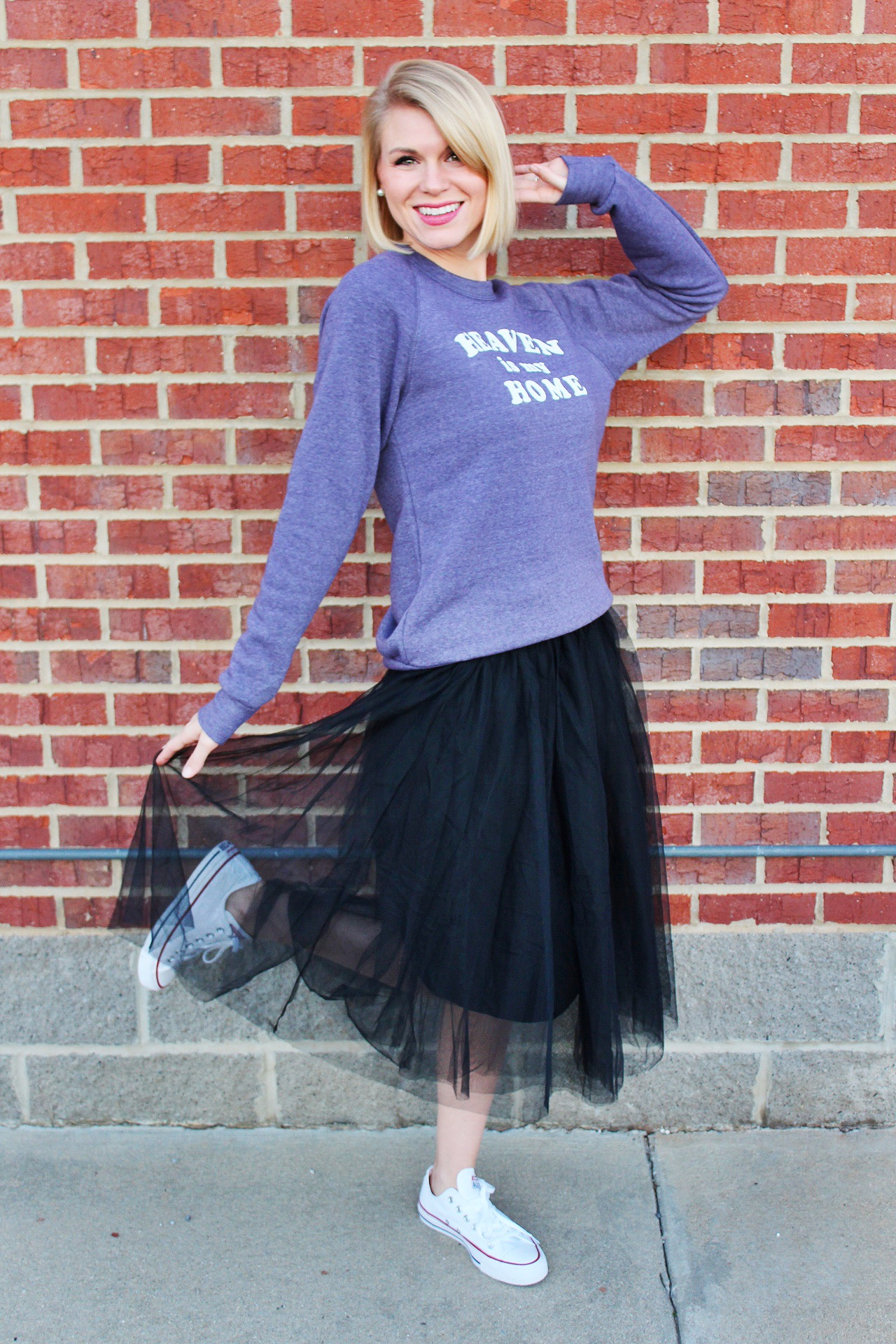 sweatshirt and tulle skirt