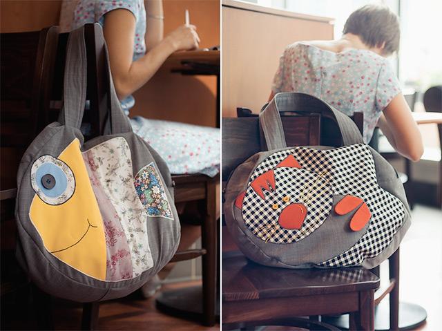 Двусторонняя сумка с рыбой на одной стороне и котом на другой zhensina