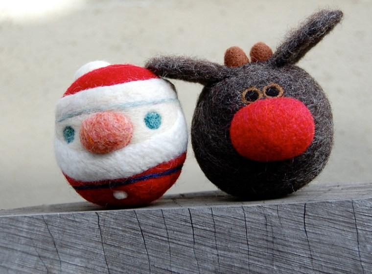 Rudolph The Reindeer and Santa WOOLY Rattle Balls asherjasper