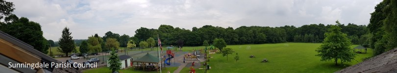 View of the Recretion Ground at Broomhall Lane showing children's playground and tennis courts