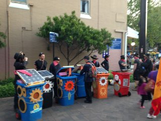 Sunny bins mass for action, 8 in all at the Parramasla festival in Sydney.