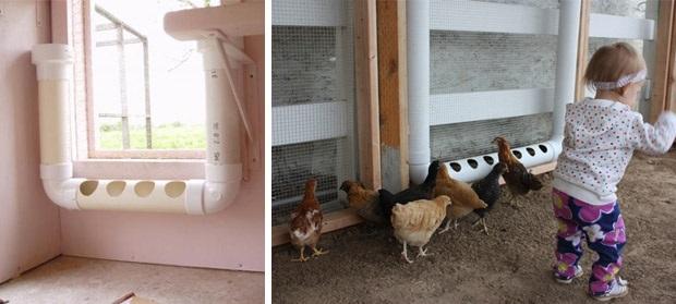 Ταΐστρες για τα κοτόπουλα με σωλήνες PVC2