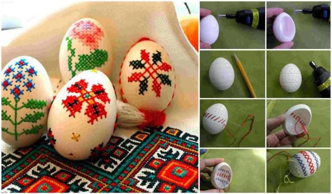 Diy Κεντητά Πασχαλινά αυγά