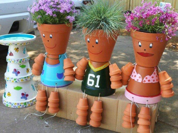 διασκεδαστικές κατασκευές με γλάστρες για τον κήπο20