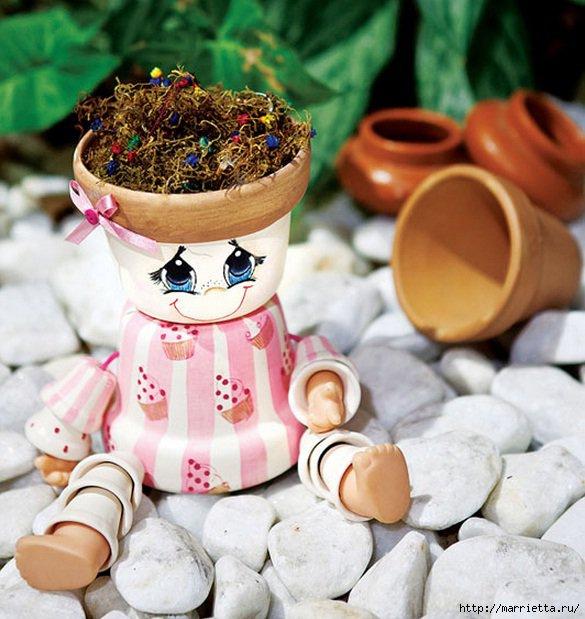 διασκεδαστικές κατασκευές με γλάστρες για τον κήπο7
