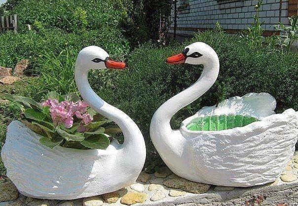 Πώς να φτιάξετε εκπληκτικές DIY γλάστρες για τον κήπο με τη μορφή ενός κύκνου