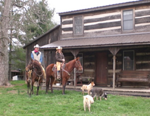 Mark & I on horses in our yard