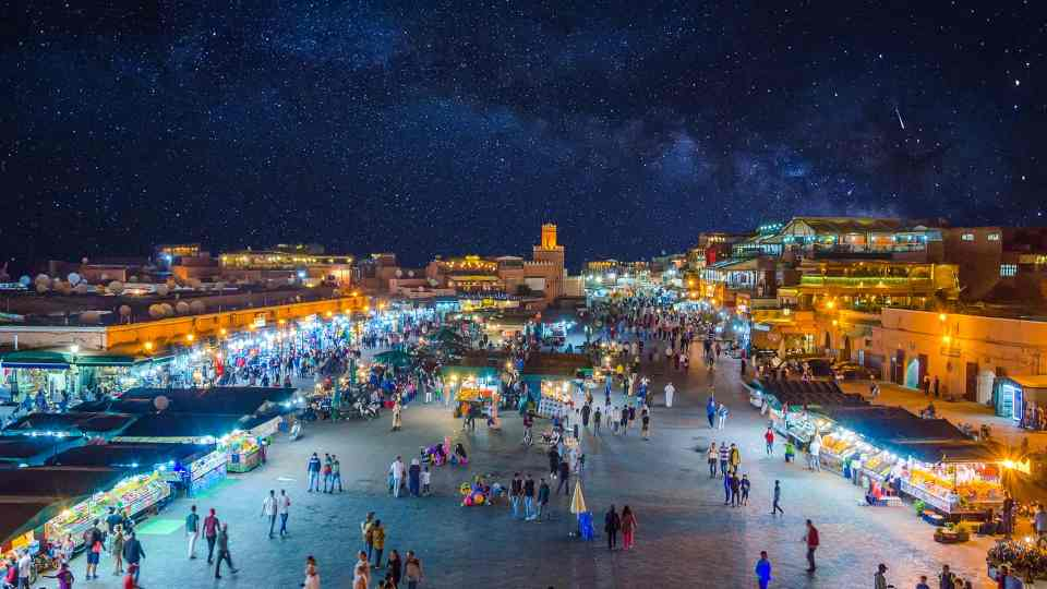 Marrakech jemaa el-fna square by night