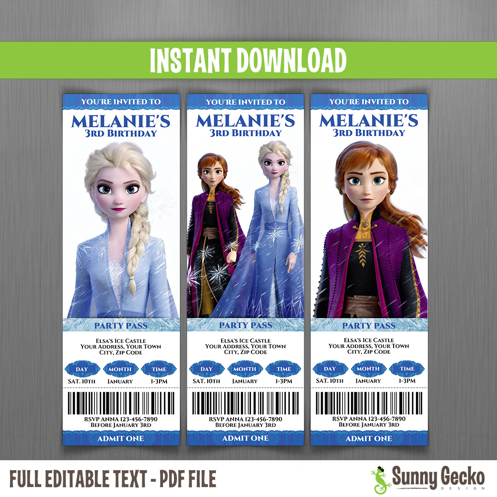 frozen 2 birthday ticket invitations