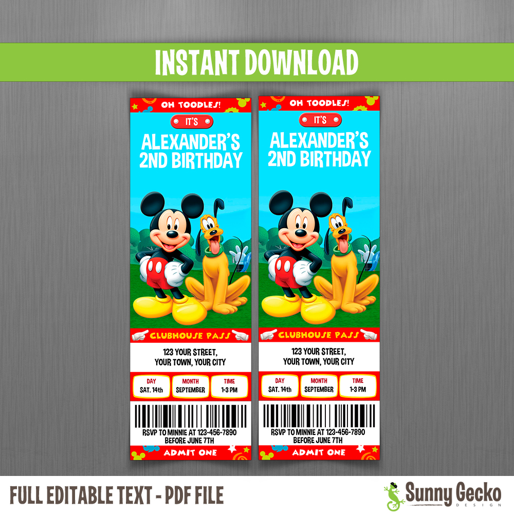mickey mouse clubhouse pluto birthday ticket invitations