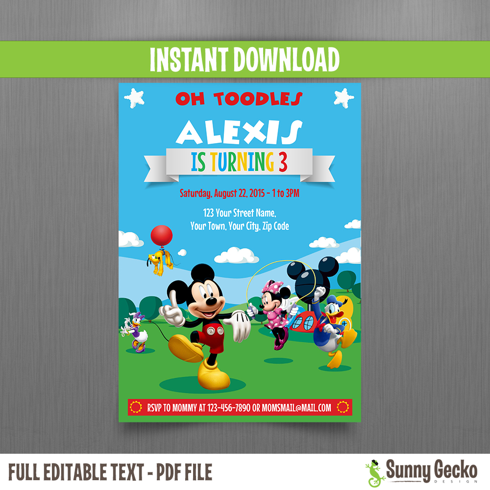 Mickey Mouse Clubhouse Party 5x7 In Birthday Invitation Set 2 Instant Download And Edit With Adobe Reader