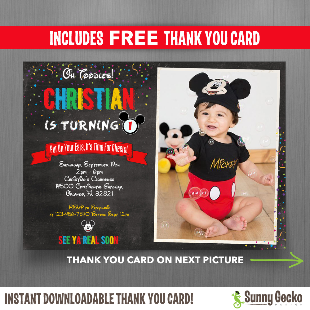 mickey mouse chalkboard style 7x5 in birthday party invitation with free editable thank you card