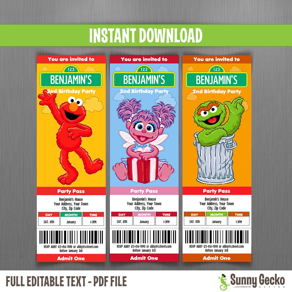 sesame street birthday ticket invitations set 2