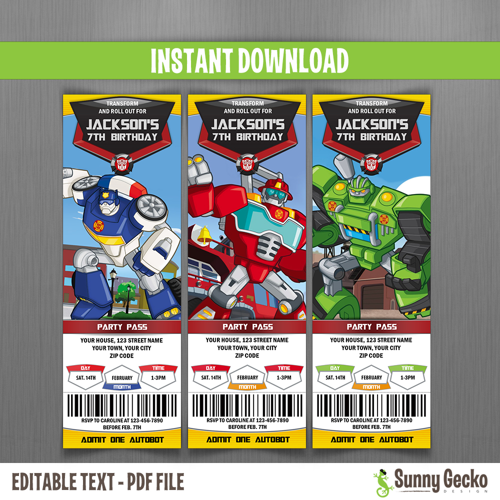Transformers Rescue Bots Ticket Invitations Instant Download And Edit With Adobe Reader
