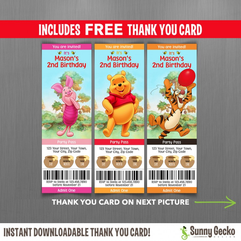 winnie the pooh ticket invitations with free editable thank you card