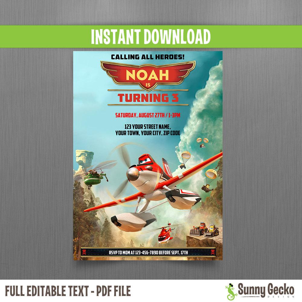 planes fire and rescue birthday invitation