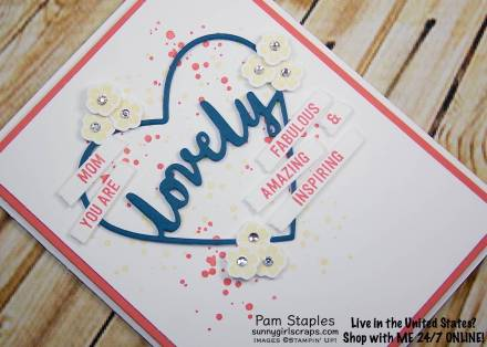 Lovely Words Thinlits Sneak Peek Mother's Day Card created by Pam Staples for the Paper Craft Crew Color Challenge 242. Visit sunnygirlscraps.com to place an order. #lovelywords #stampinup
