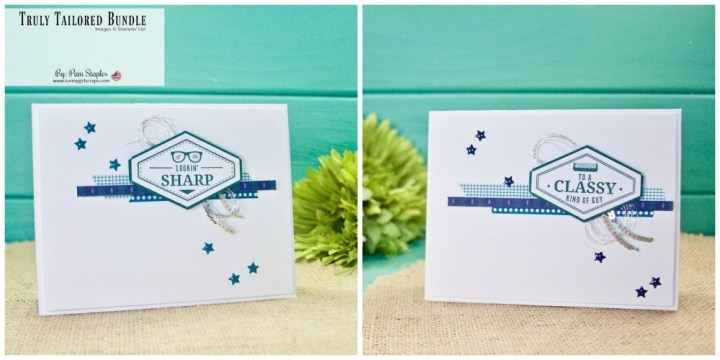 "The Truly Tailored Bundle is a great masculine stamp set from Stampin' Up! With only a few supplies, I created this clean and simple card. So, if you are looking for the perfect card for a ""Classy Kind of Guy"" Place YOUR order today for the Truly Tailored Bundle and save 10% on the Stamp Set and coordinating punch. Go to www.sunnygirlscraps.com #tailoredtag #trulytailored #stampinup #sunnygirlscraps #handmadecard #tranquiltide #washitape #masculinecard #becreative #handmadecard #papercraft #papercrafts #creativity #create #creativenation #cards #madewithlove #diy"