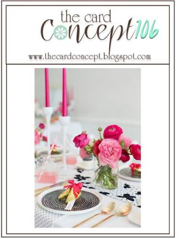 Card Concept Challenge featuring an elegant photo of a black and white dinner setting with pink flowers