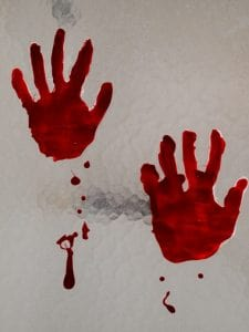DIY Bloody Handprint Cling Halloween Decoration