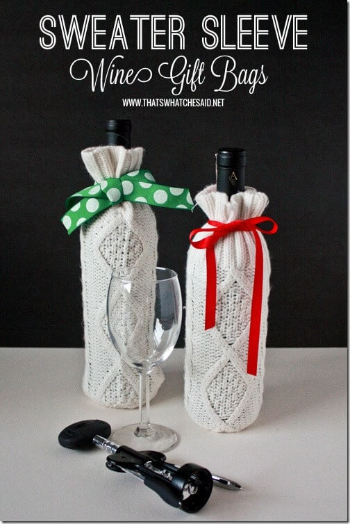 Homemade Sweater Wine Gift Bag