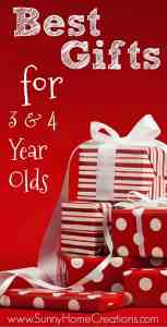 Here is a HUGE list of gift ideas for 3 & 4 year olds. Over 100 items kids would love on this list! There are so many great ideas on here, I don't know which present to get my preschooler.