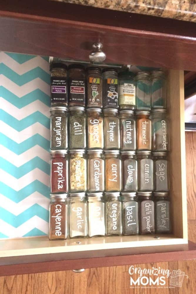 square spice jar storage drawer