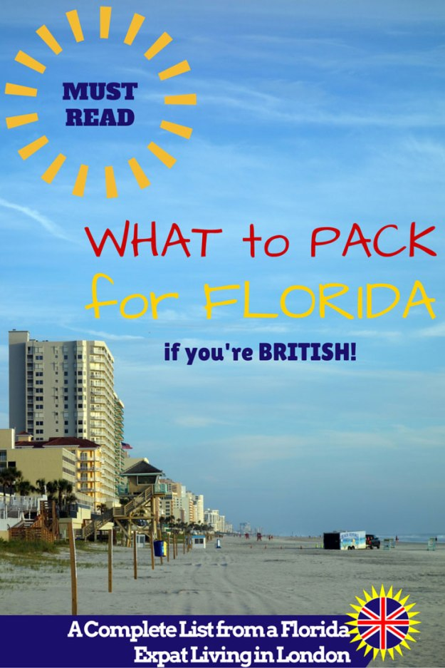 A list of what to pack for Florida for British tourists going on holiday to the Sunshine State