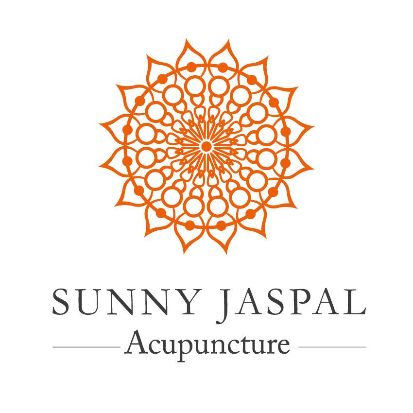 Sunny Jaspal Acupuncture text under orange mandala.