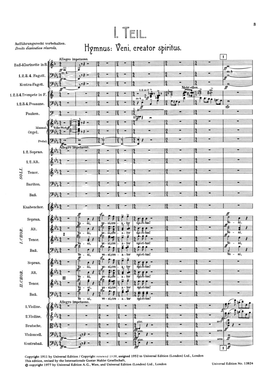 Mahler Symphony no 8 first page of score