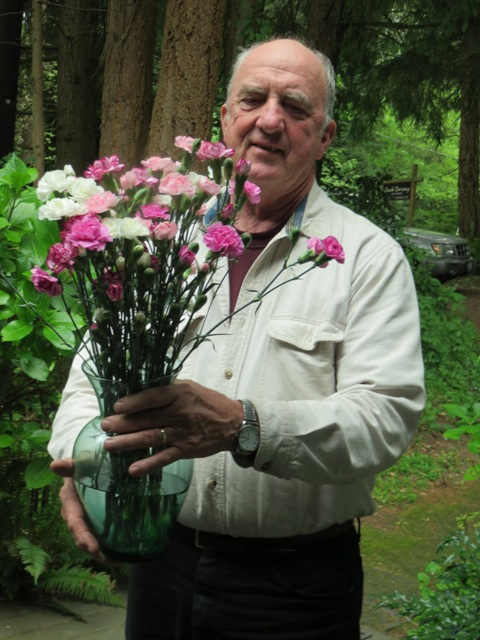 Dad with flowers