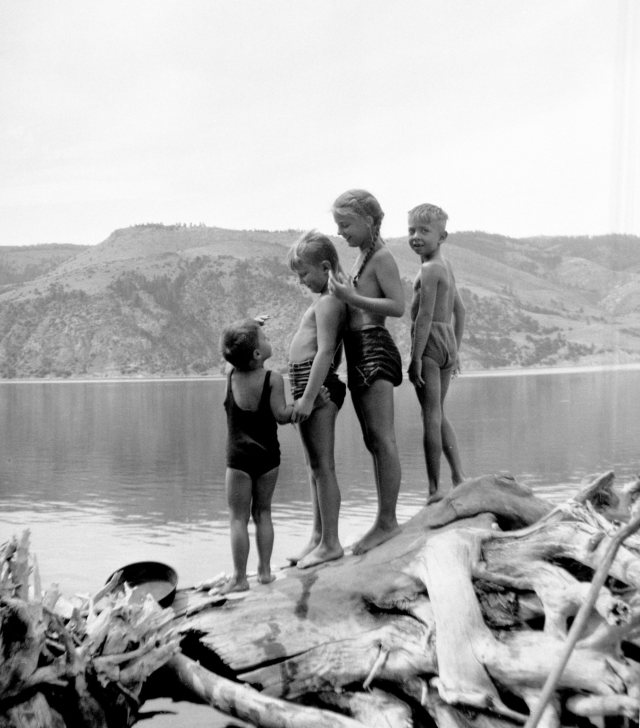 Grandkids swim at lake Sewell, Robert, Bud, Margaret, Ted Cooney