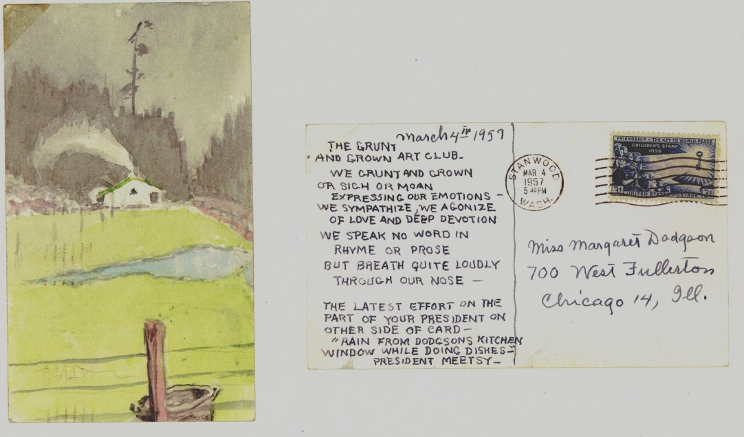 Grunt and Groan Art Club postcard, Mar 4, 1957, Meetsy to Margaret resized b