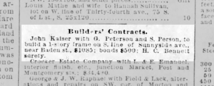 Notice of contract to build 211 Sunnyside Ave. in SF Call, 22 Jan 1892.