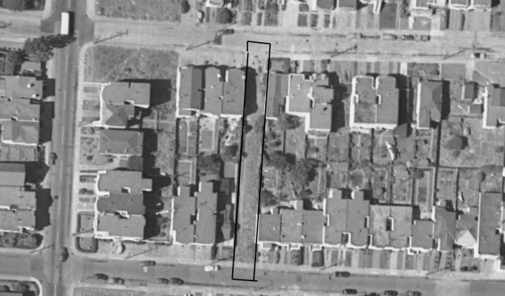 1948 aerial. SFPUC lot 3088/018 marked.