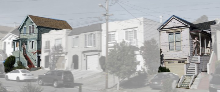 The two houses in the story, still standing, 18 and 10 Spreckels Avenue (now 46 and 30 Staples). There were no other houses here at this time. Photo and imaginary composite: Amy O'Hair.