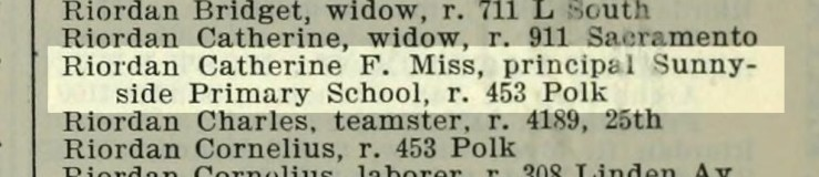 1897 SF Directory, showing Miss Riordan's address. From archive.org.