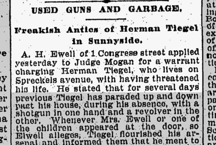 "More charges against Herman Tiegel. Congo Street misreported as ""Congress"" Street. From SF Chronicle, 17 Nov 1898. From Newsbank.com."